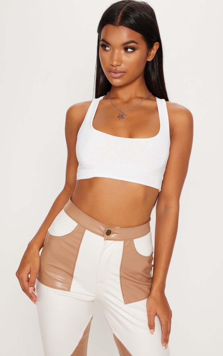 White Slinky Racer Back Crop Top by Prettylittlething