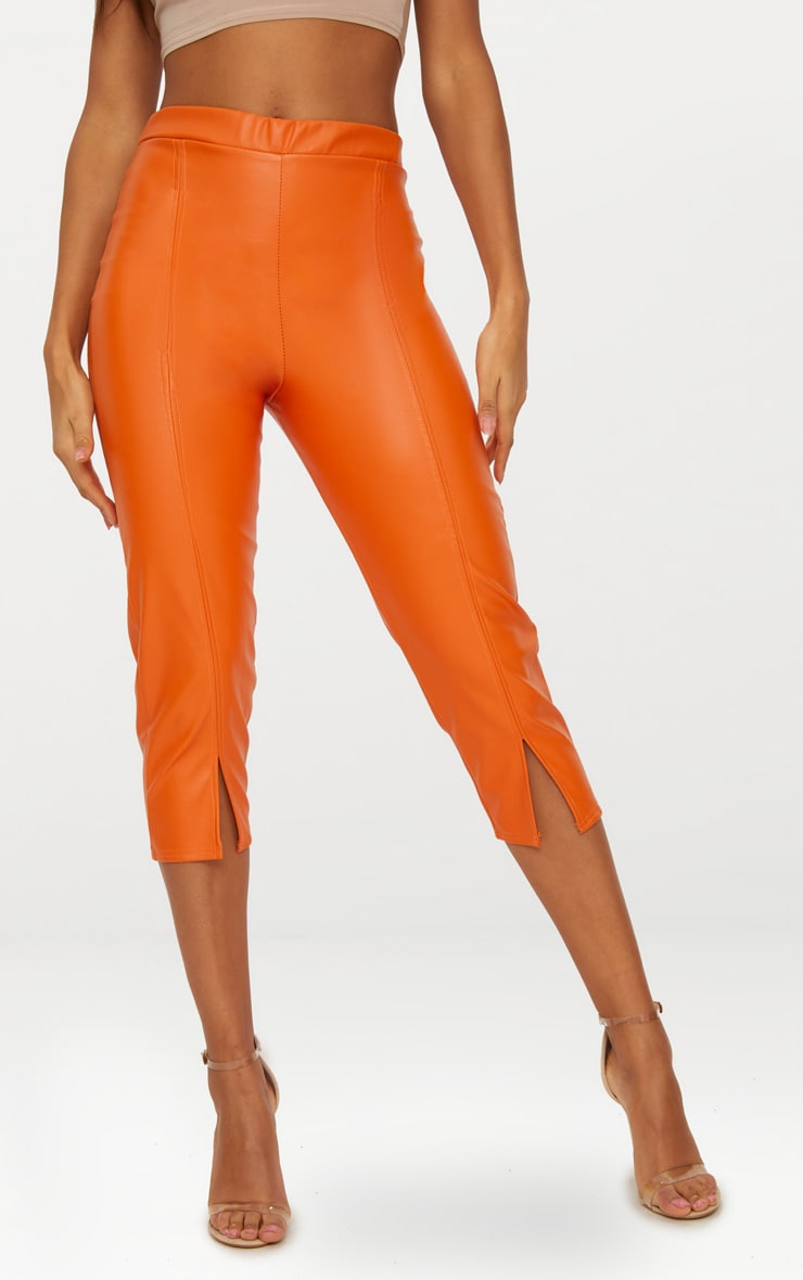 Orange Faux Leather Split Cropped Trousers 2