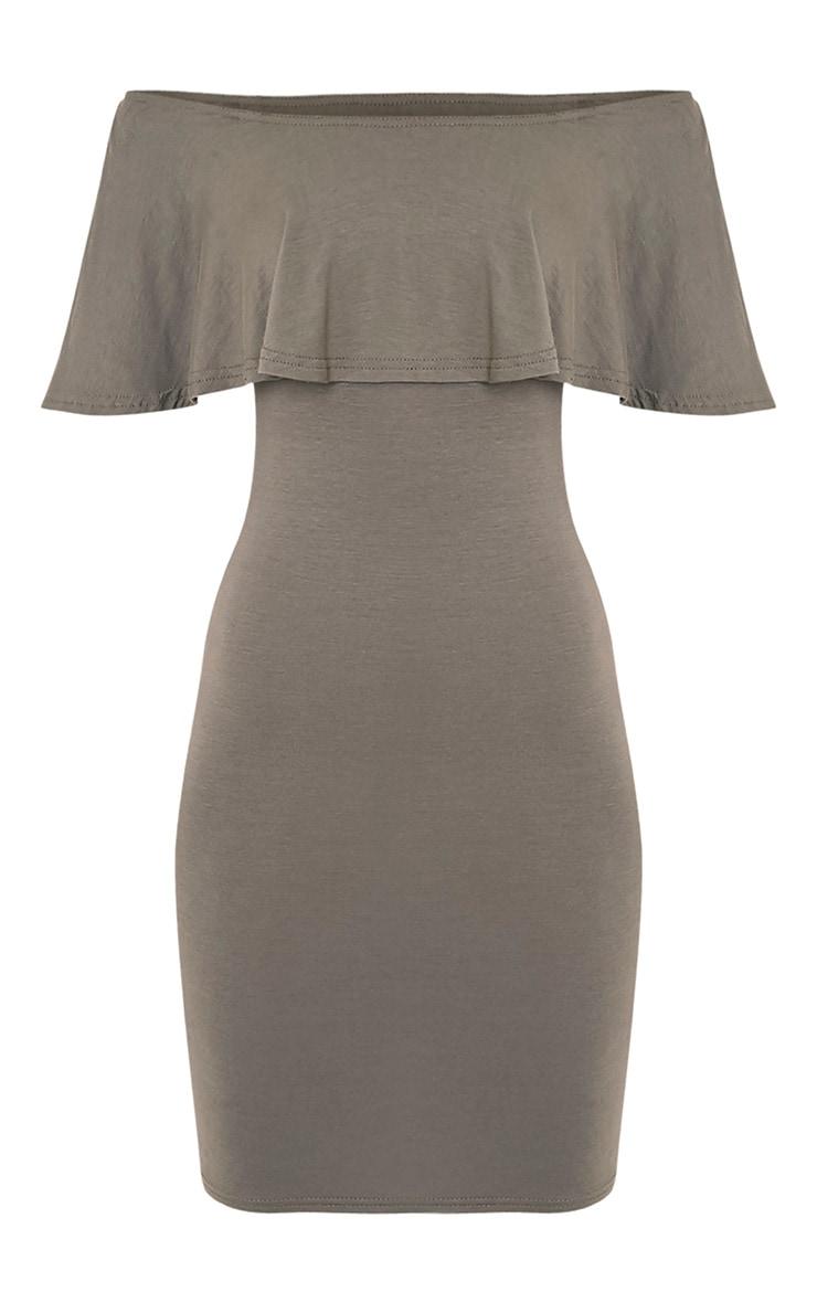 Sereen Khaki Frill Bardot Bodycon Dress 3
