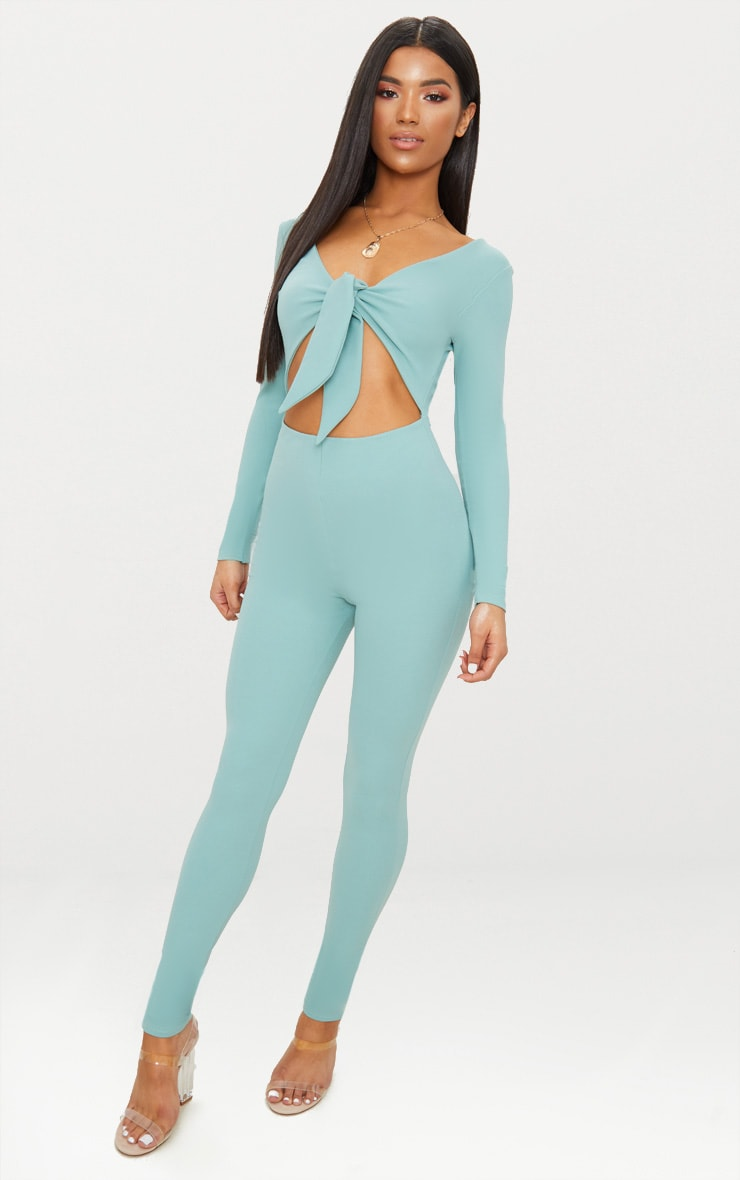 Mint Tie Front Long Sleeve Jumpsuit 1