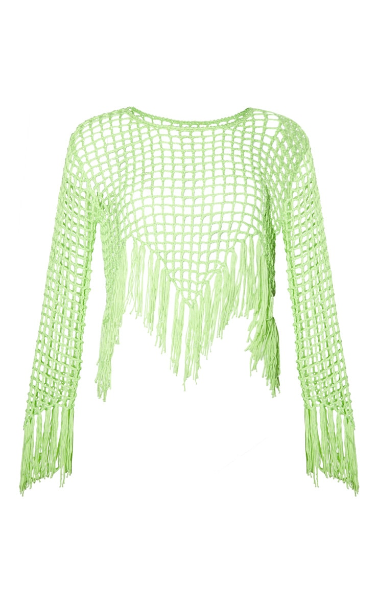 Lime Fringe Hem Crochet Sweater 3