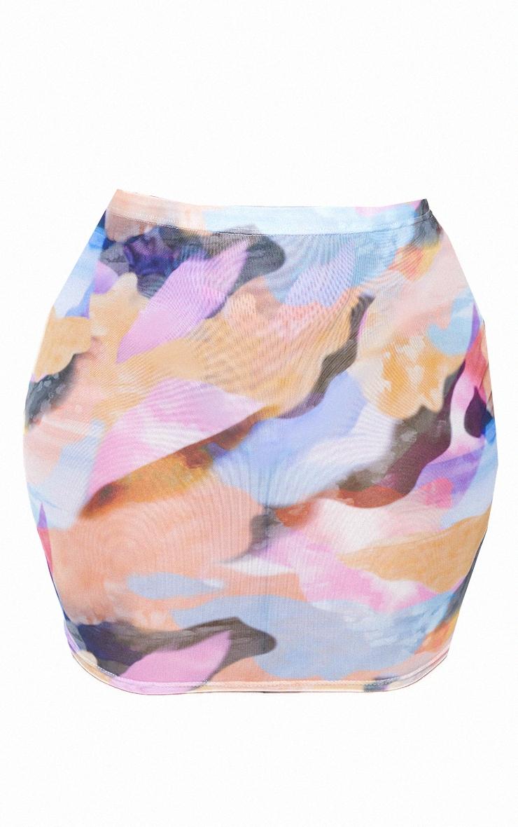 Plus Peach Watercolour Print Mesh Mini Skirt 6