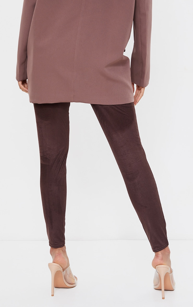 Maternity Chocolate Over Bump Faux Suede Leggings 3