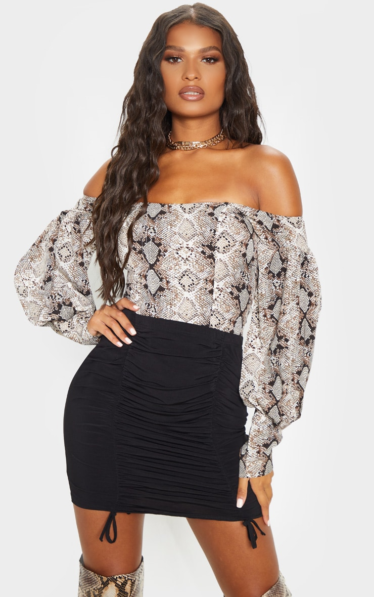 Black Ruched Front Mini Skirt  1