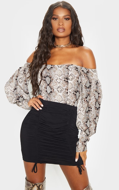 Black Ruched Front Mini Skirt