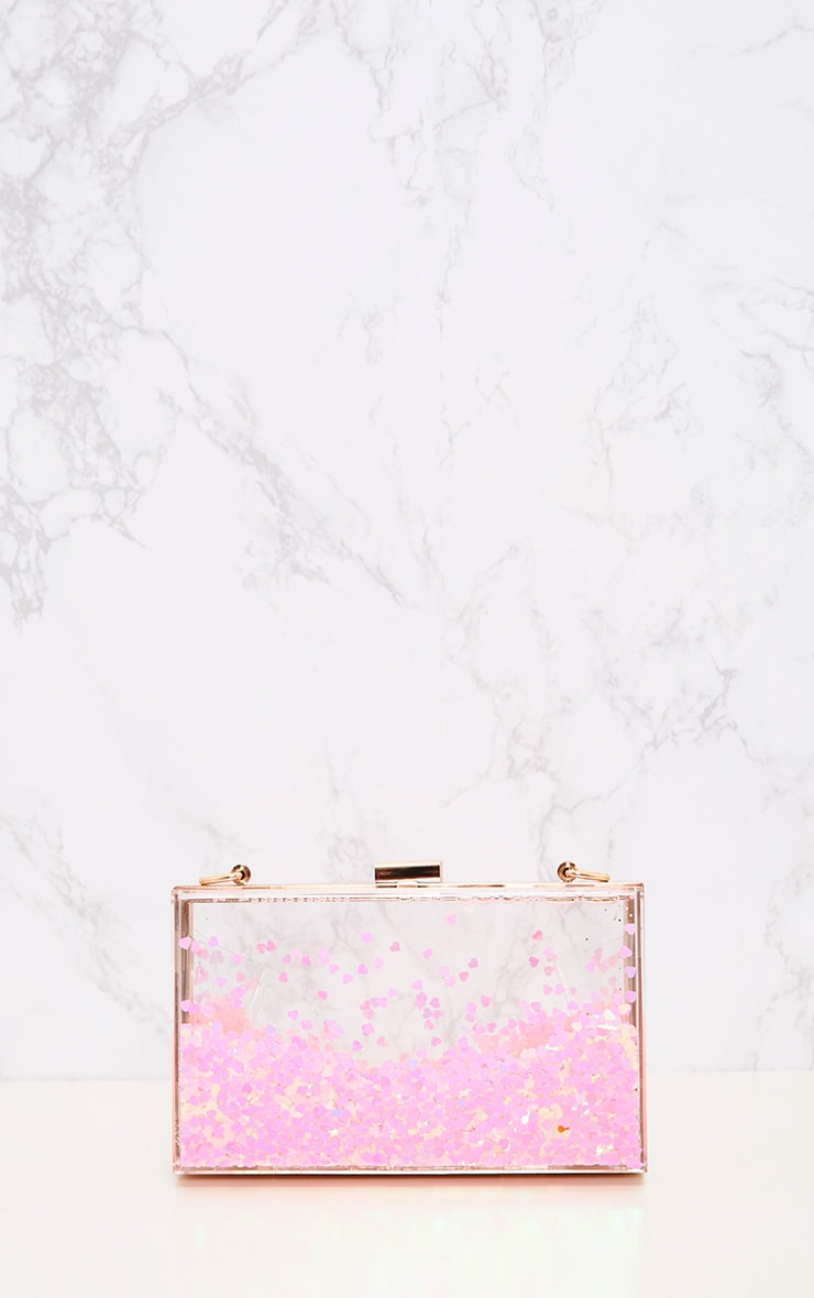 Pink Sequin Clear Box Clutch 3