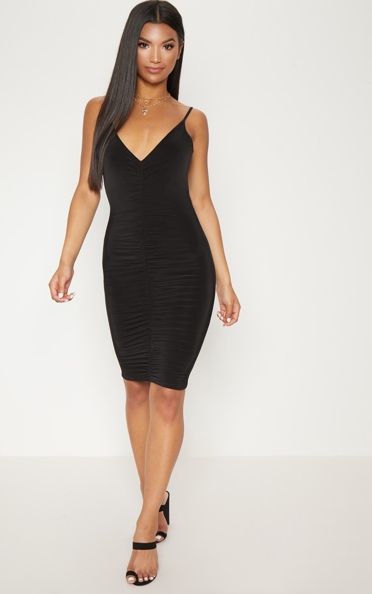 Black Slinky Ruched Scoop Back Bodycon Mini Dress 4