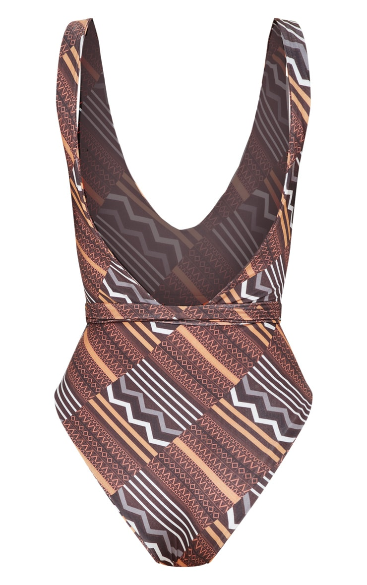 Brown Tribal Print Tie Waist Swimsuit 4