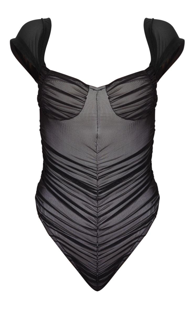 Black Mesh Ruched Short Sleeve Bodysuit 3