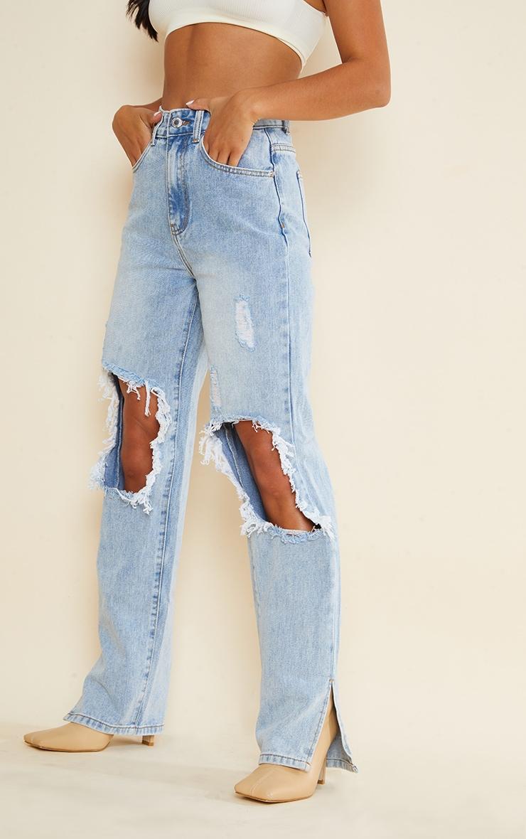 Petite Light Blue Ripped Knee Split Hem Denim Jeans 3
