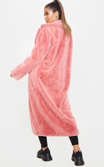 Pink Maxi Faux Fur Coat