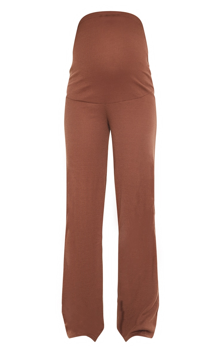 Maternity Chocolate Ribbed Wide Leg Trousers 5