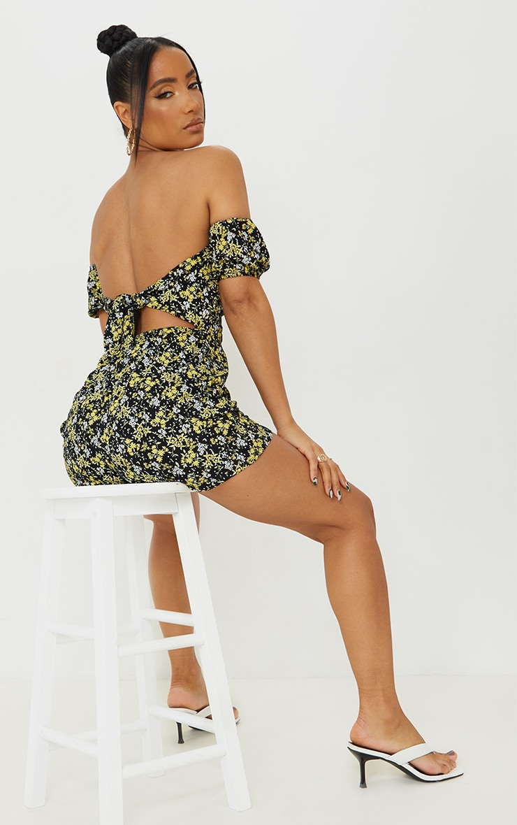 Black Ditsy Floral Tie Back Puff Bardot Romper 1