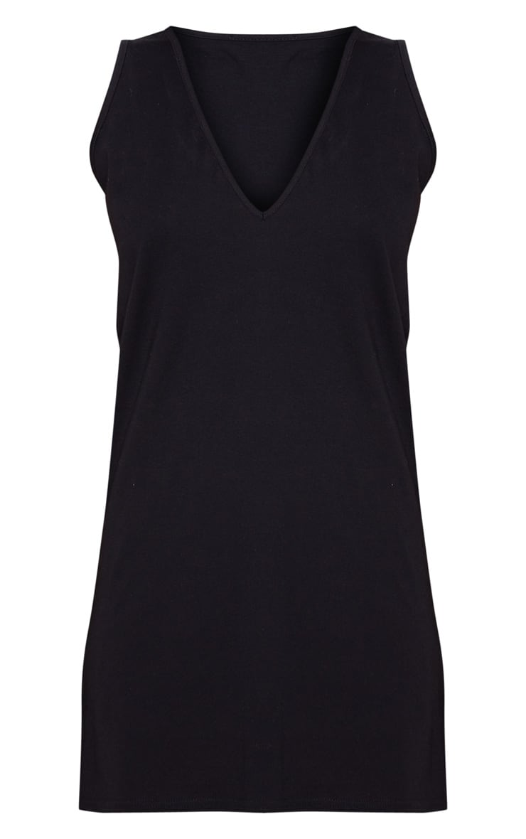 Black Deep V Sleeveless Shift Dress 3