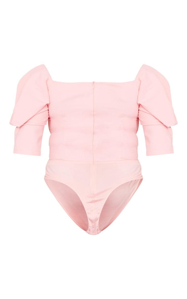 Plus Dusty Pink Woven Puff Sleeve Bodysuit 6