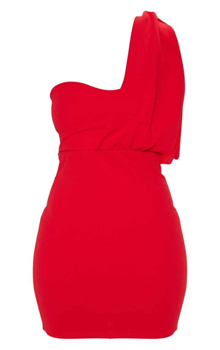 Red One Shoulder Draped Bodycon Dress 3