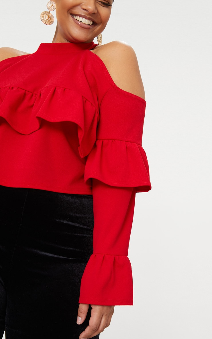 Plus Red Cold Shoulder Ruffle Detail Crop Top 5