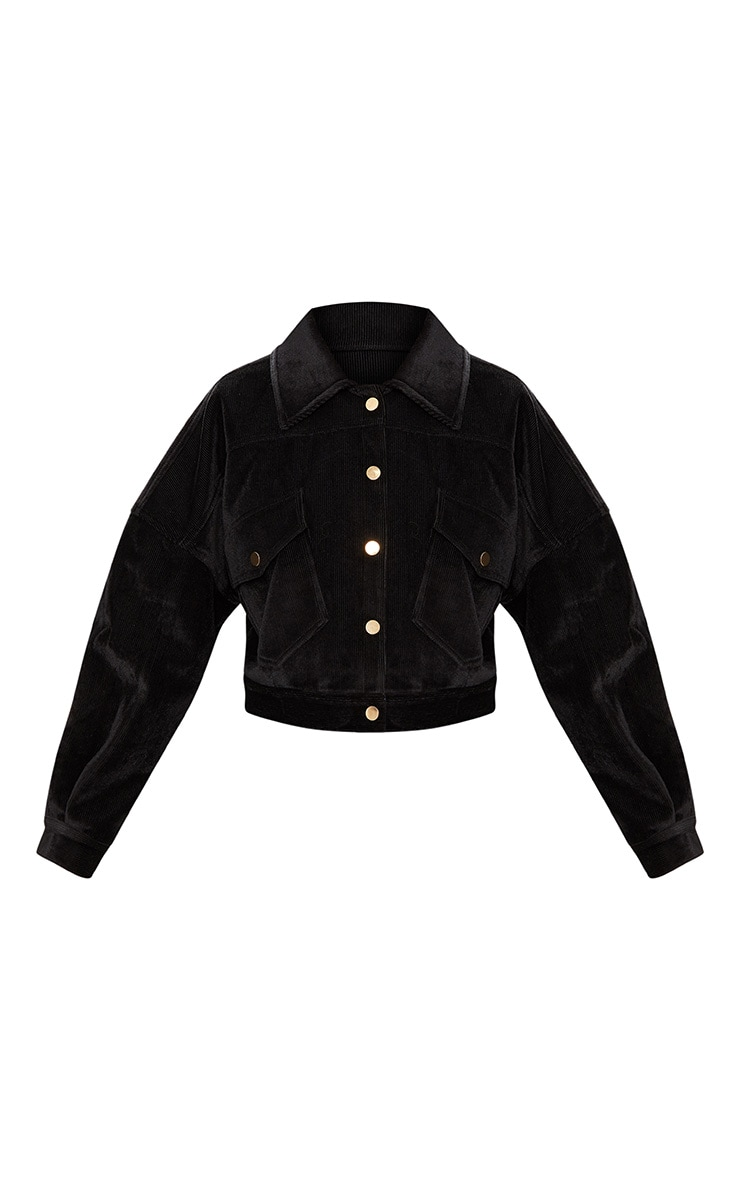 Black Cropped Cord Oversized Trucker Jacket 3