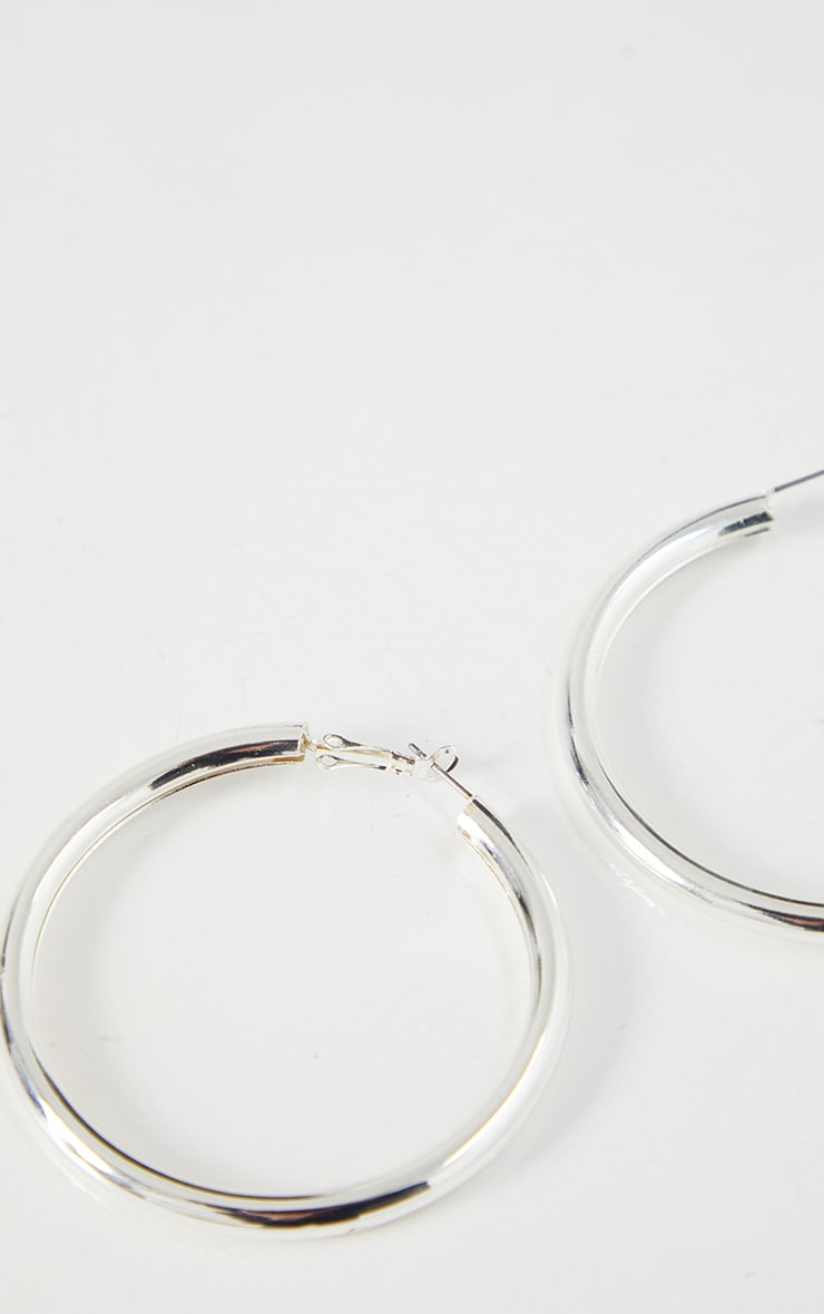 Silver Tubular Medium Hoop Earrings 3