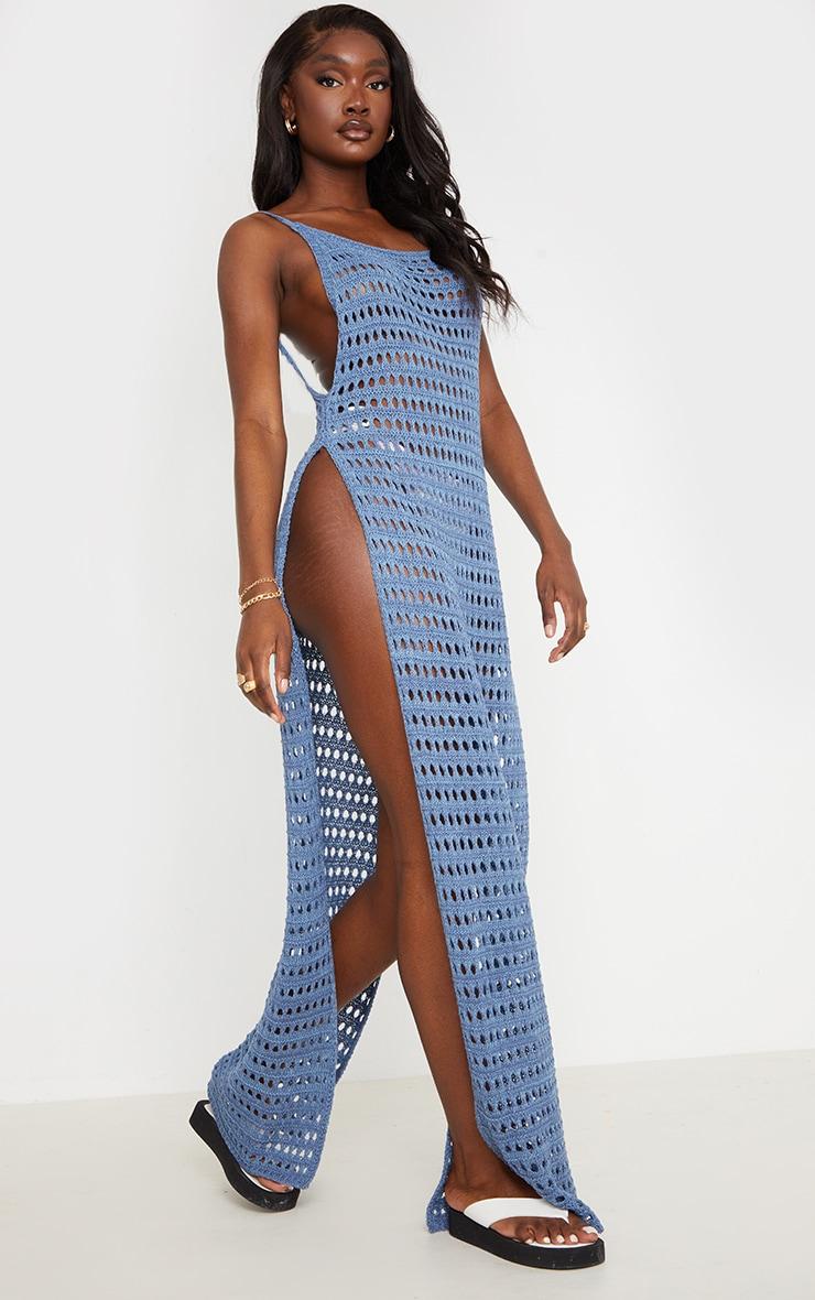 Tall - Robe longue en crochet bleu fendue sur les côtés 3