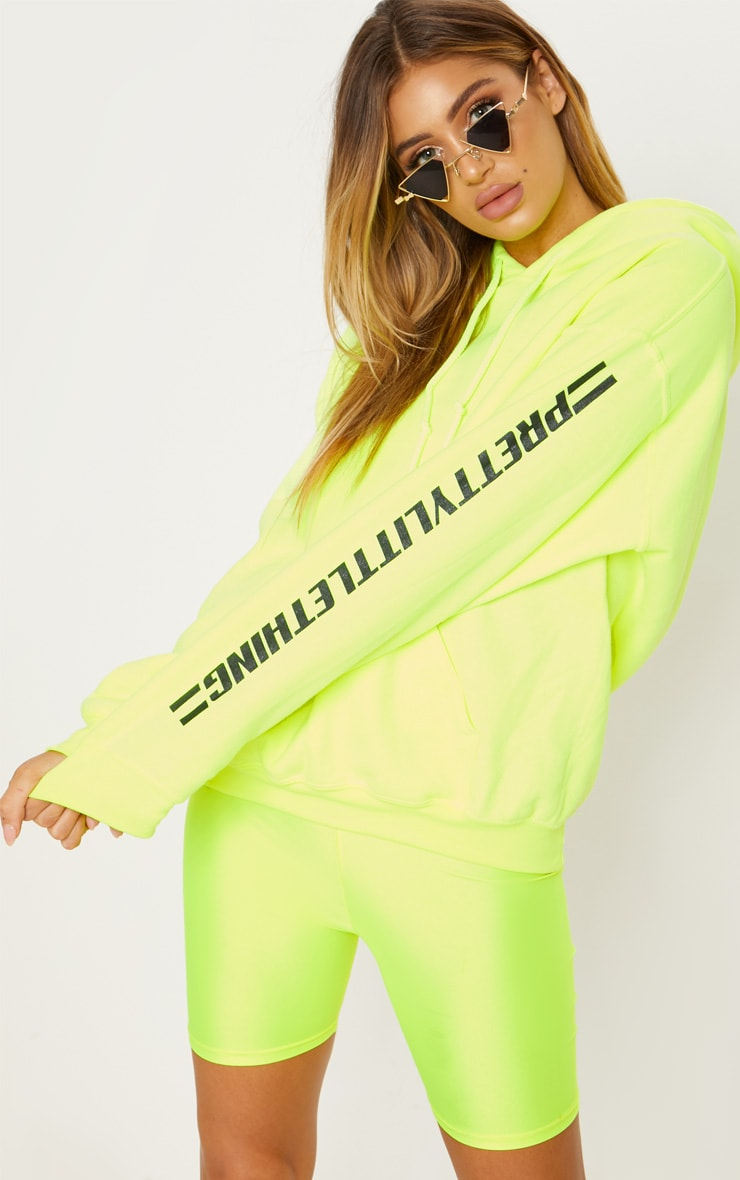 PRETTYLITTLETHING Neon Yellow Logo Stripe Oversized Hoodie 2