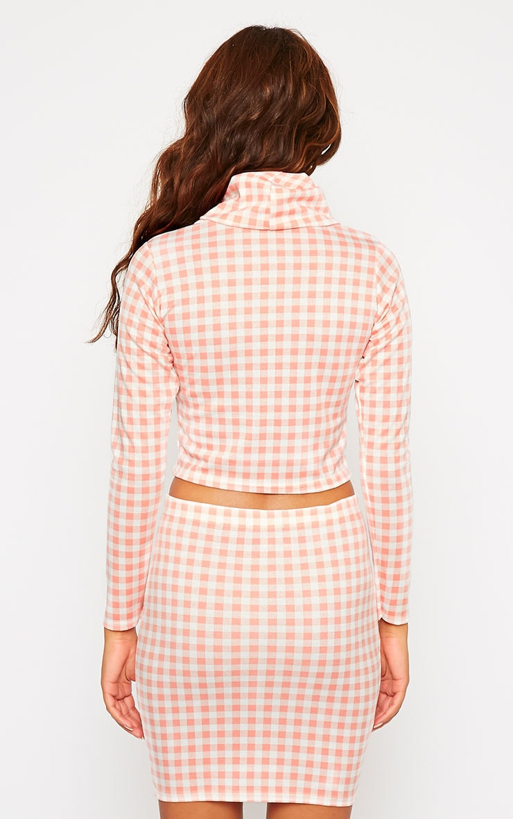 Belle Pink Gingham Roll Neck Crop Top 2