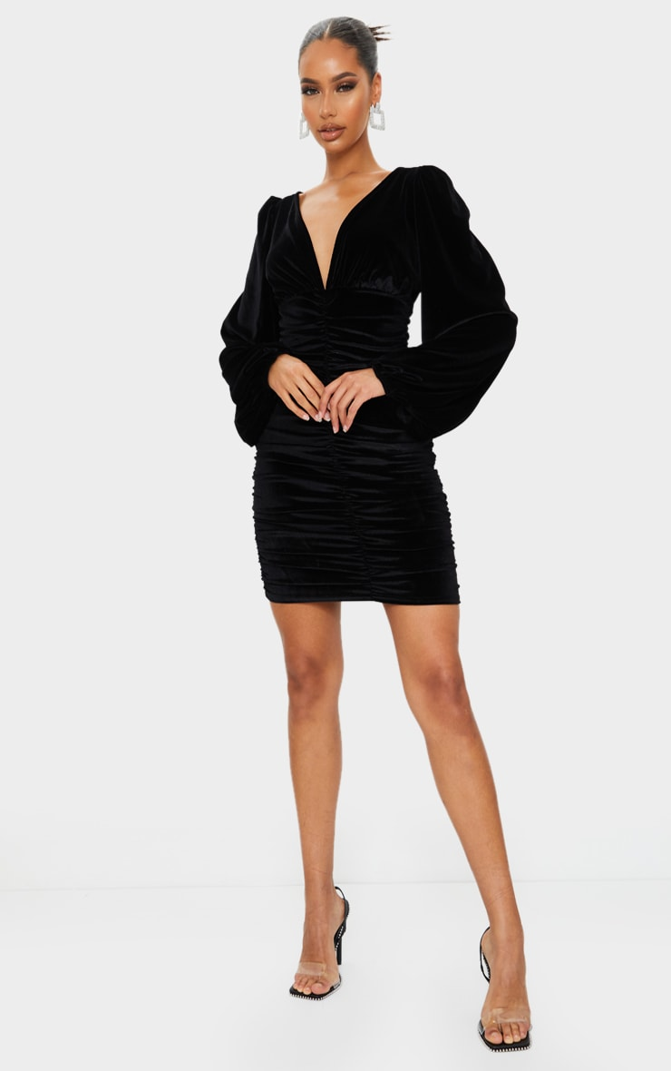 Black Velvet Ruched Balloon Sleeve Plunge Bodycon Dress 3