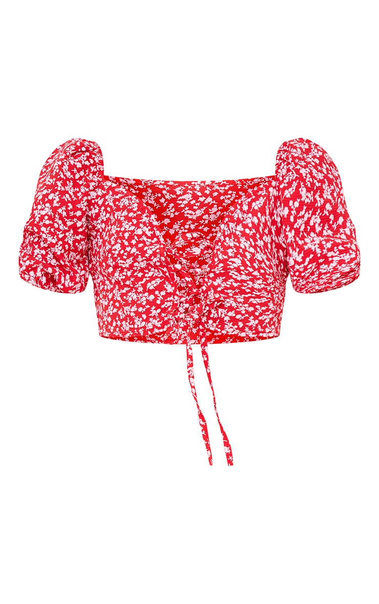 Red Floral Printed Chiffon Lace Up Front Puff Sleeve Crop Top 5