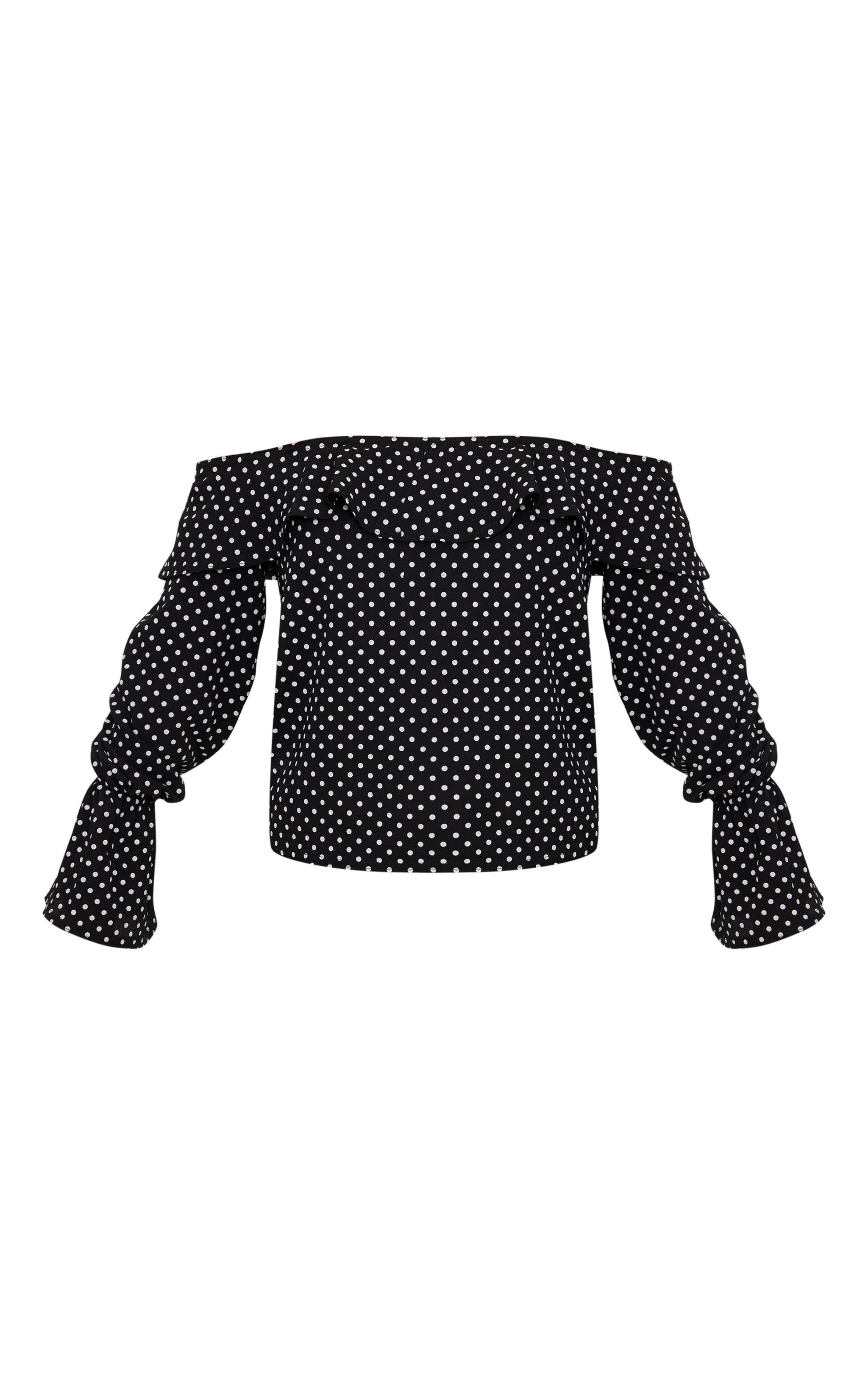Black Chiffon Polka Dot Bardot Blouse  3