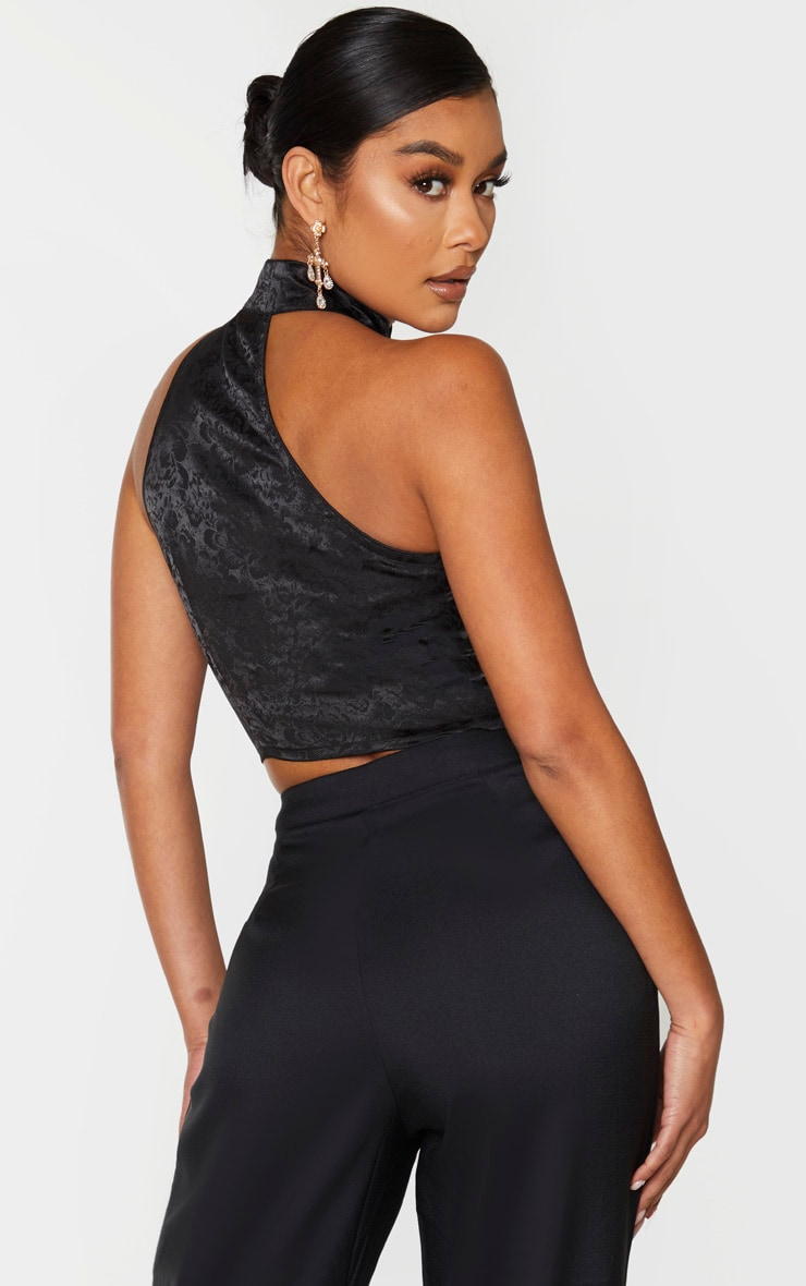 Black Satin Oriental High Neck Asymmetric Crop Top 2
