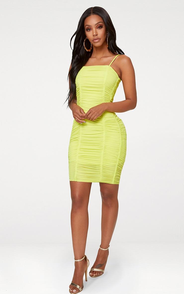 Shape Lime Ruched Mesh Bodycon Mini Dress 3
