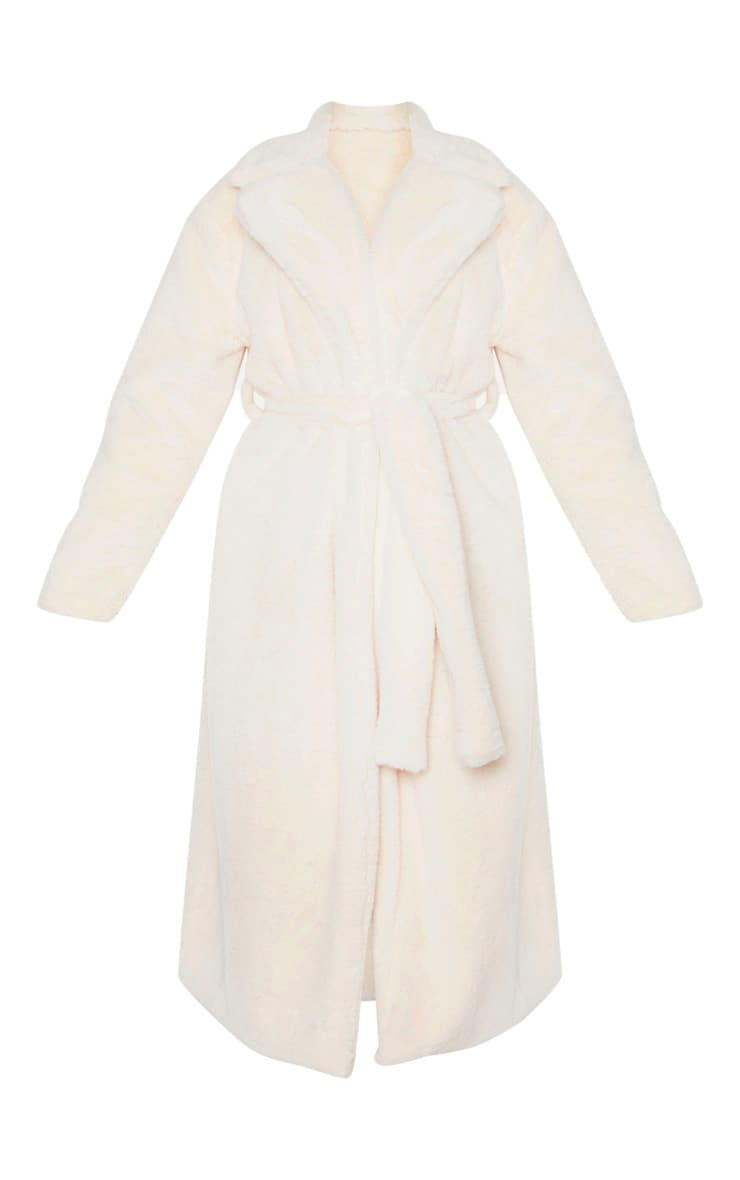 Tall Cream Belted Faux Fur Coat 3