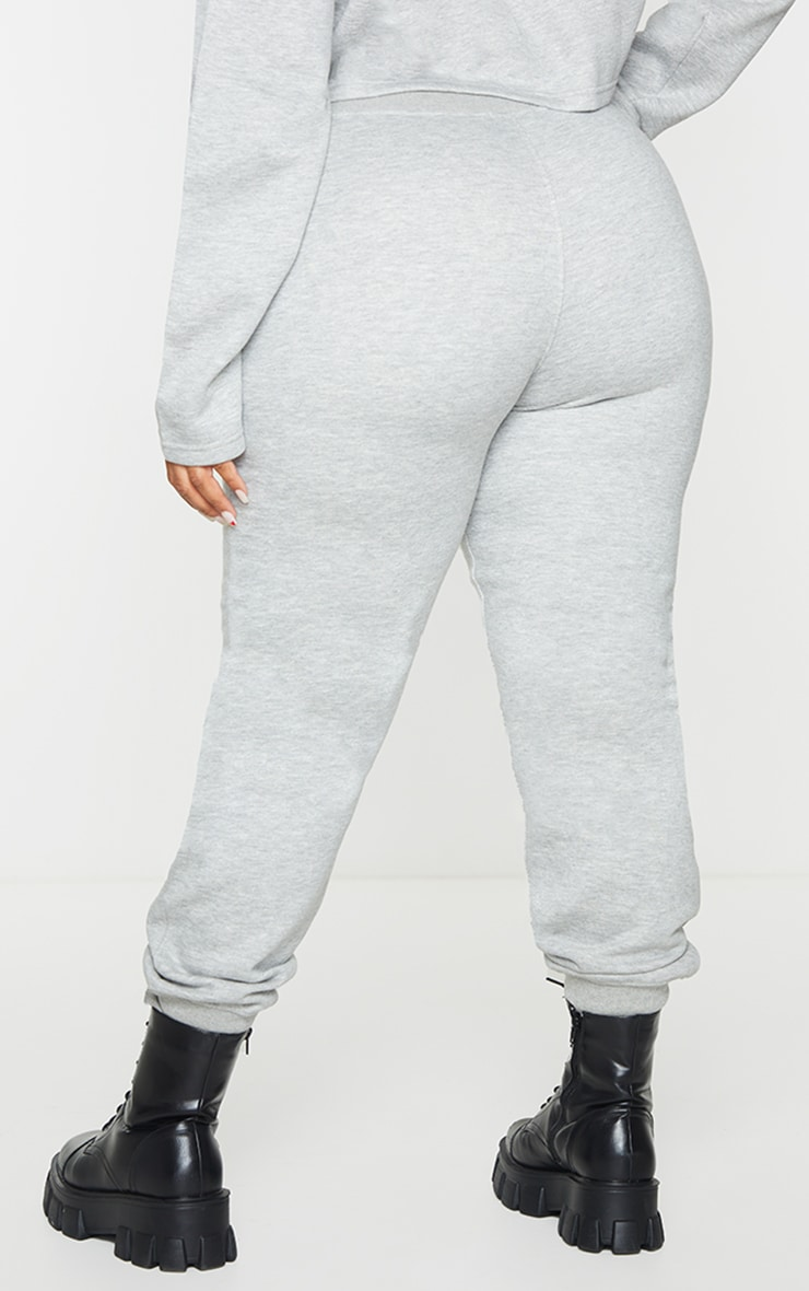 PRETTYLITTLETHING Plus Grey Badge Detail Joggers 3