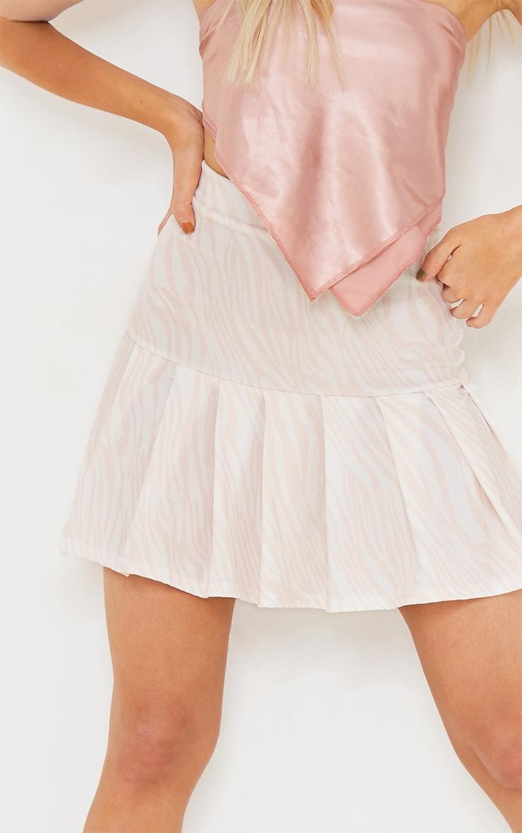 Nude Zebra Pleated Step Hem Mini Skirt 5