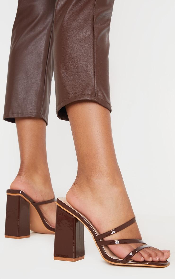 Chocolate Block Heel Strappy Mule Sandal 1