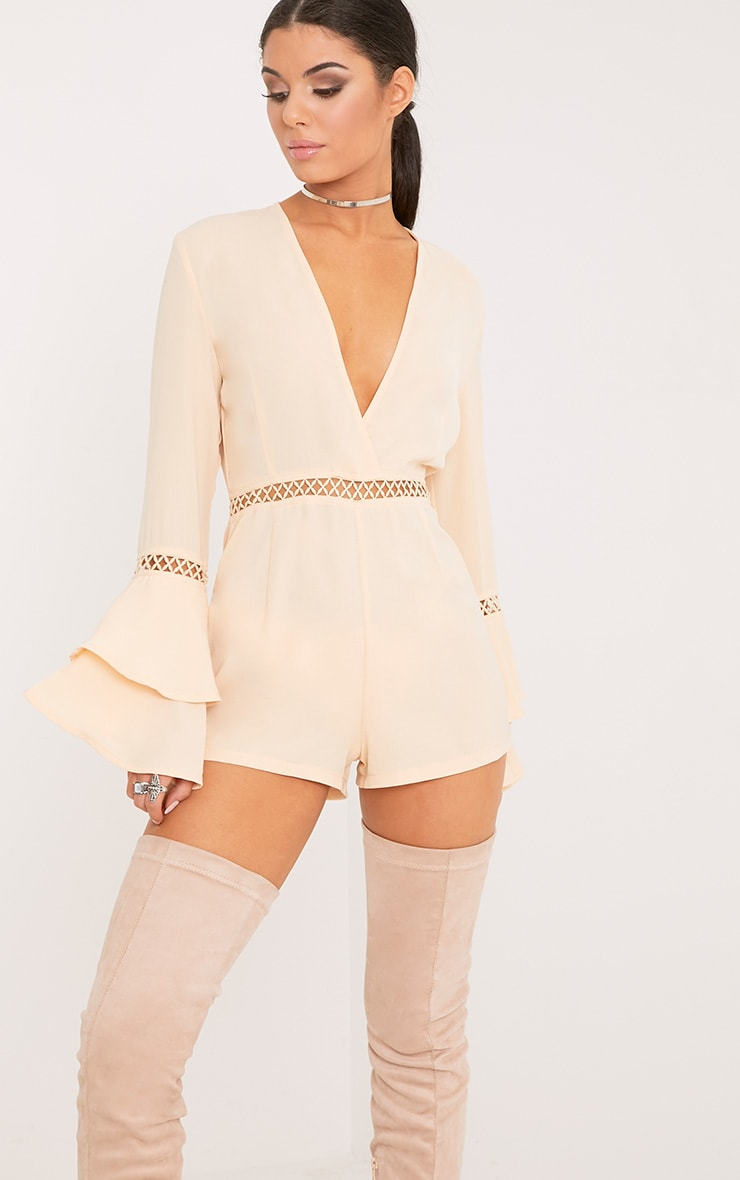 Marnie Cream Frill Sleeve Playsuit 1