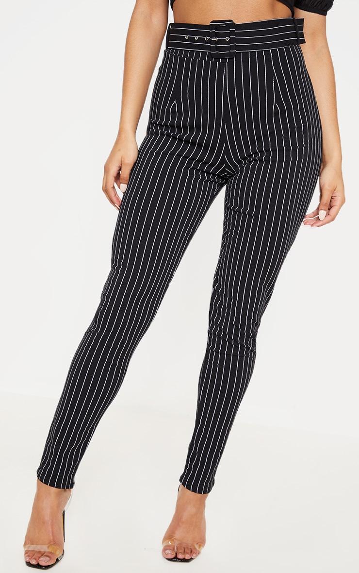 Black Pinstripe Belted Waist Skinny Trouser 2