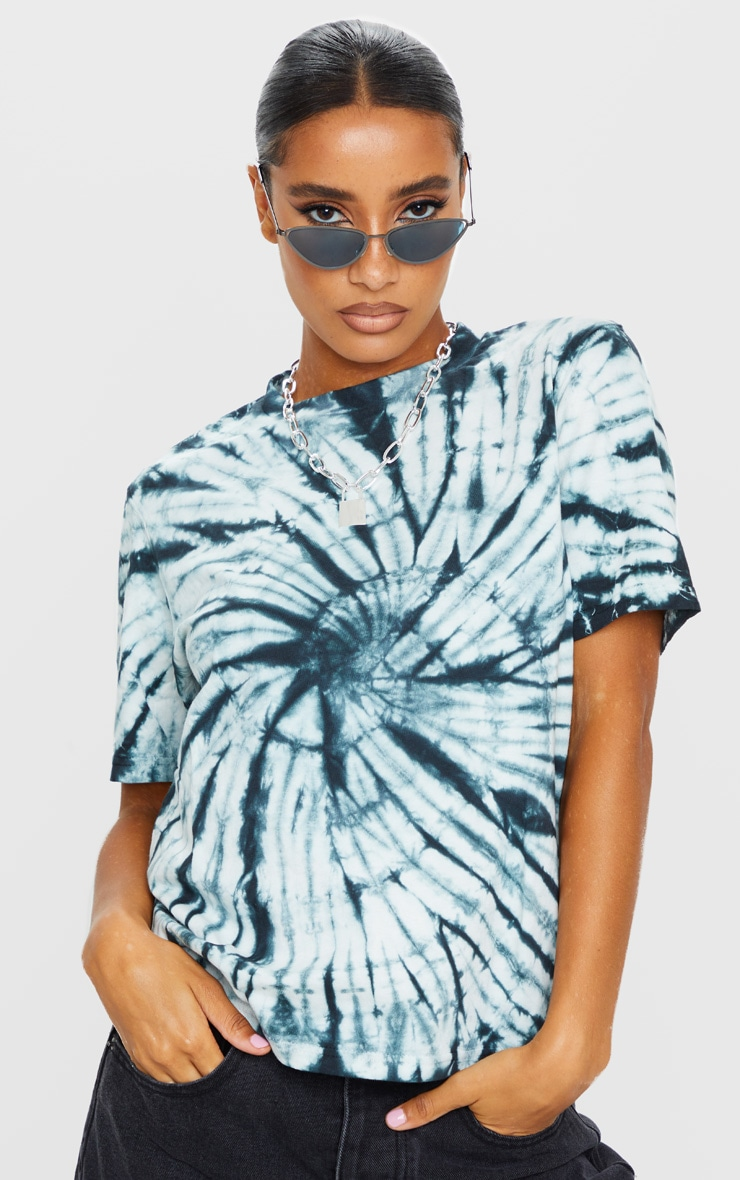 Black Tie Dye Boyfriend Fit T Shirt 3