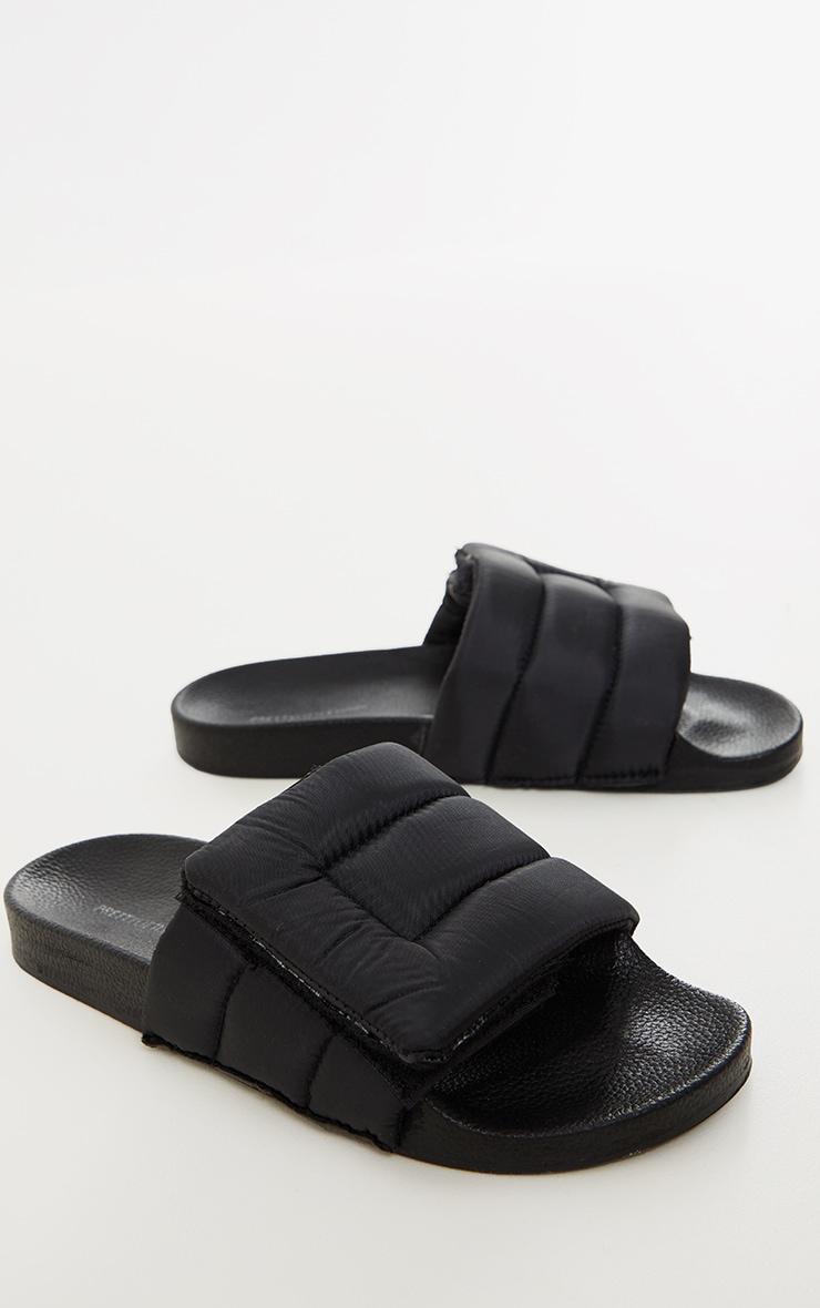 Black Nylon Padded Velcro Slides 3