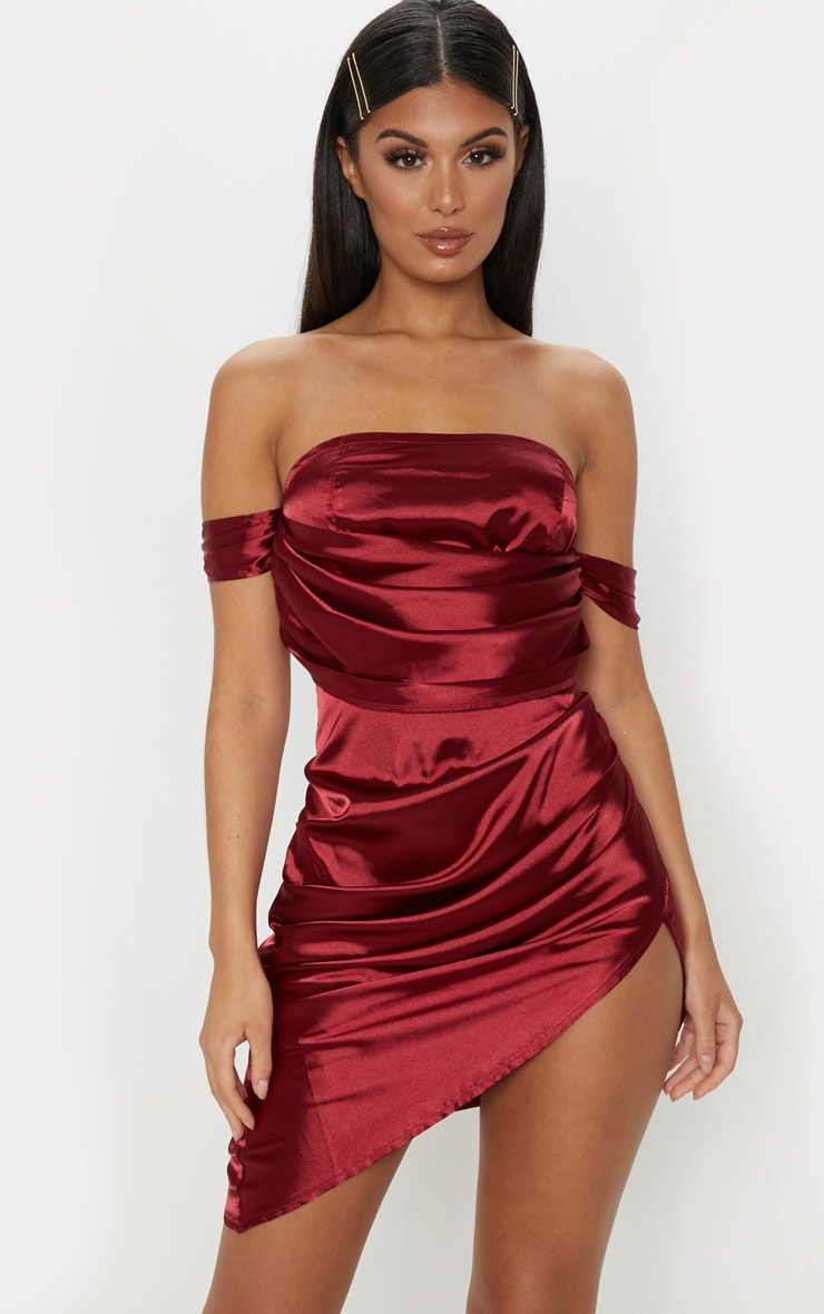 Burgundy Satin Bardot Drape Bodycon Dress