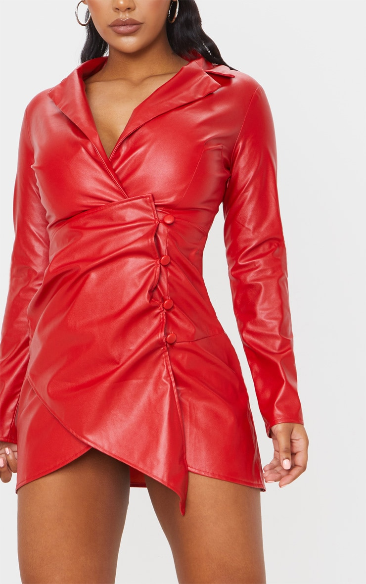 Red Faux Leather Long Sleeve Button Up Detail Bodycon Dress 5