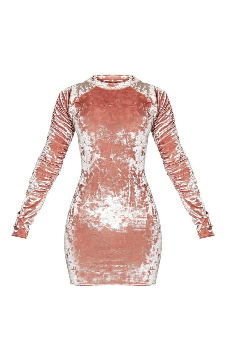 Blush Velvet Ruched Sleeve High Neck Bodycon Dress 3