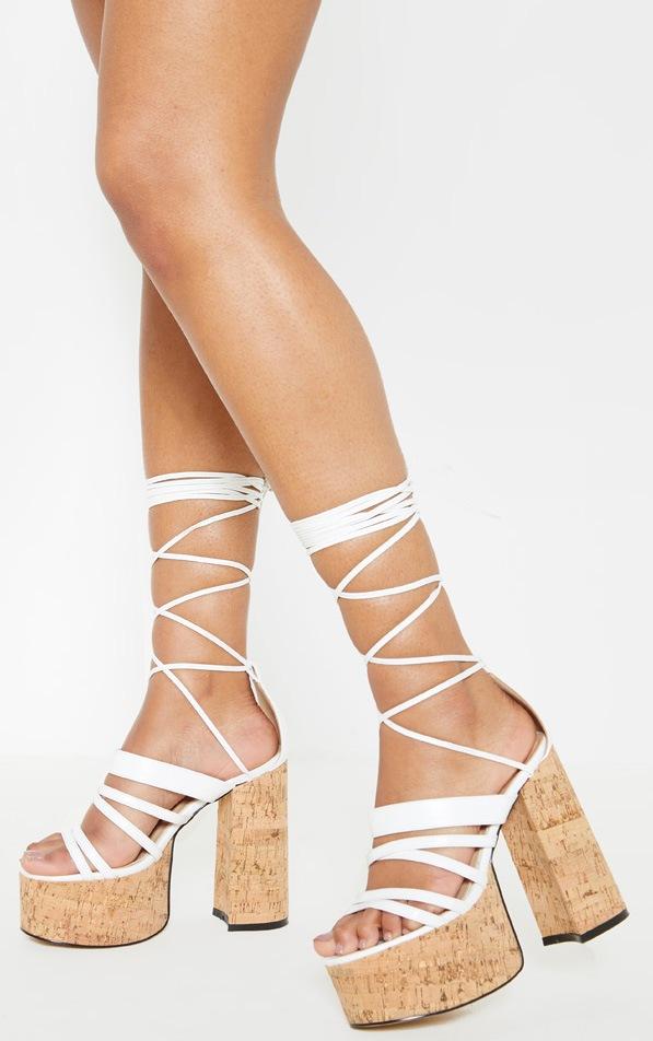 White Triple Sole Flatform Sandal 1