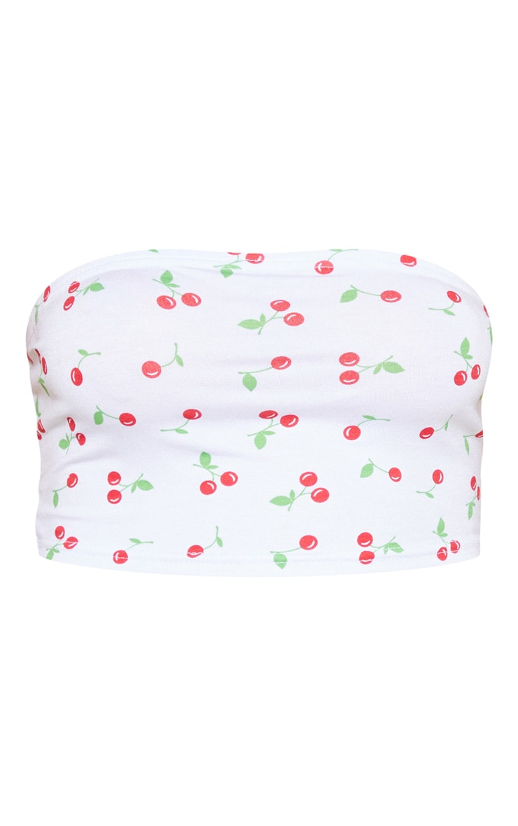 White Cherry Printed Bandeau Crop Top 3
