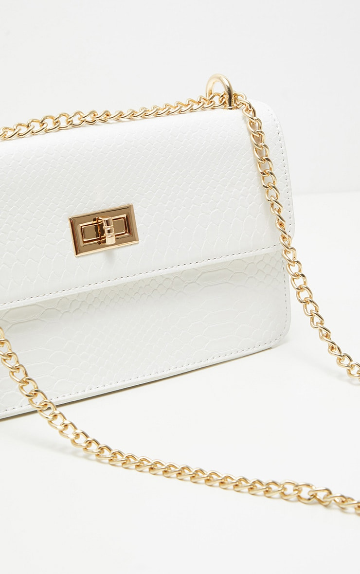 White Croc Chain Cross Body Bag 5