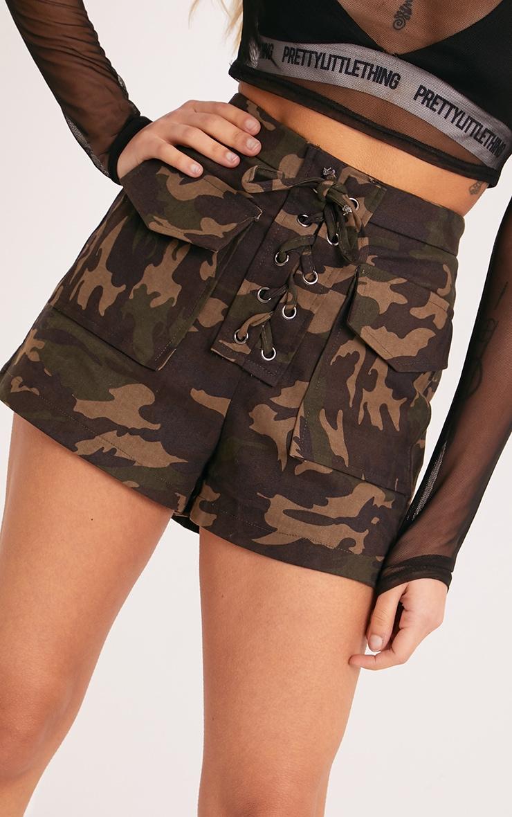 Katelyn Khaki Camo Lace Up Shorts 5