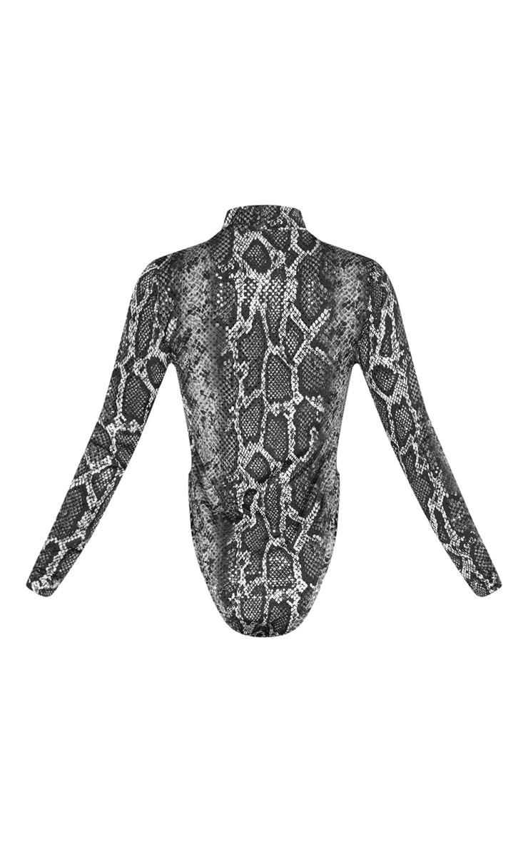 Grey Snake Sequin High Neck Bodysuit 6