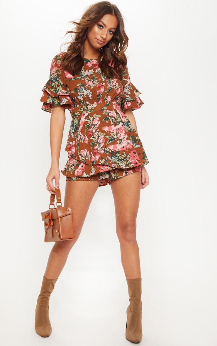 Chocolate Printed Frill Sleeve Tie Back Playsuit
