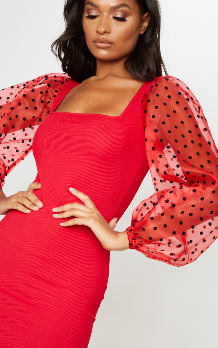 Red Polka Dot Organza Long Sleeve Square Neck Rib Bodycon Dress 5