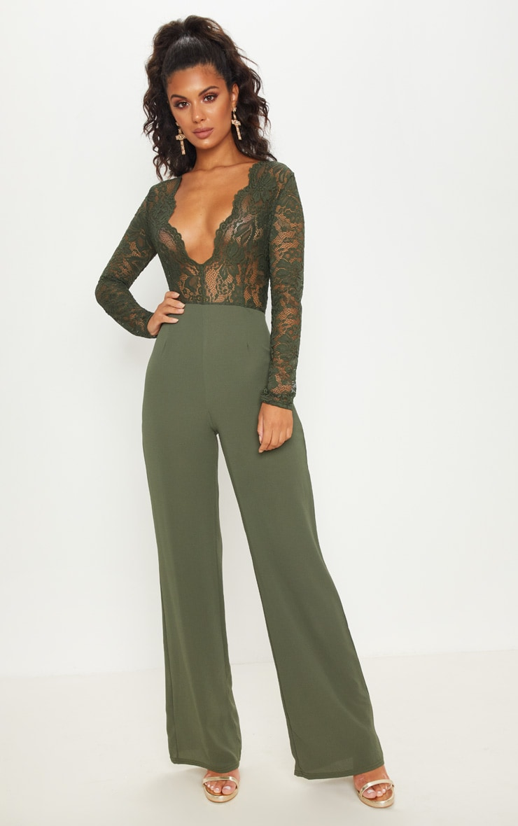 Khaki Lace Long Sleeve Plunge Jumpsuit